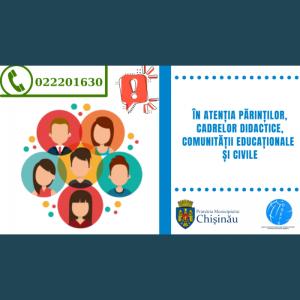 În atenția părinților, cadrelor didactice, comunității educaționale și civile